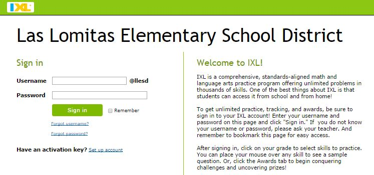 Ixl and LLESD sign in screen